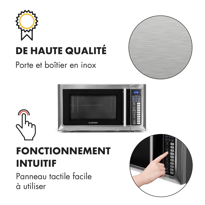 Klarstein Brilliance Pro • microondas 1000 W • Función Grill 1250 ...