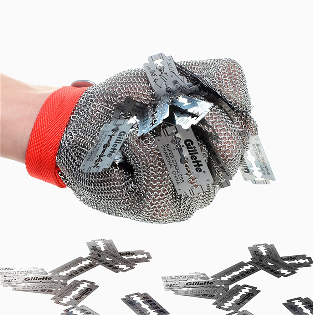 Inf-way 304L Brushed Stainless Steel Mesh Cut Resistant Chain Mail Gloves Kitchen Butcher Working Safety Glove - As Seen On TV 1pcs (Large)