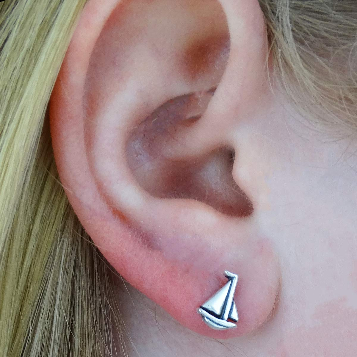 Sterling Silver Sailboat Stud Earrings Posts with Butterfly Backings