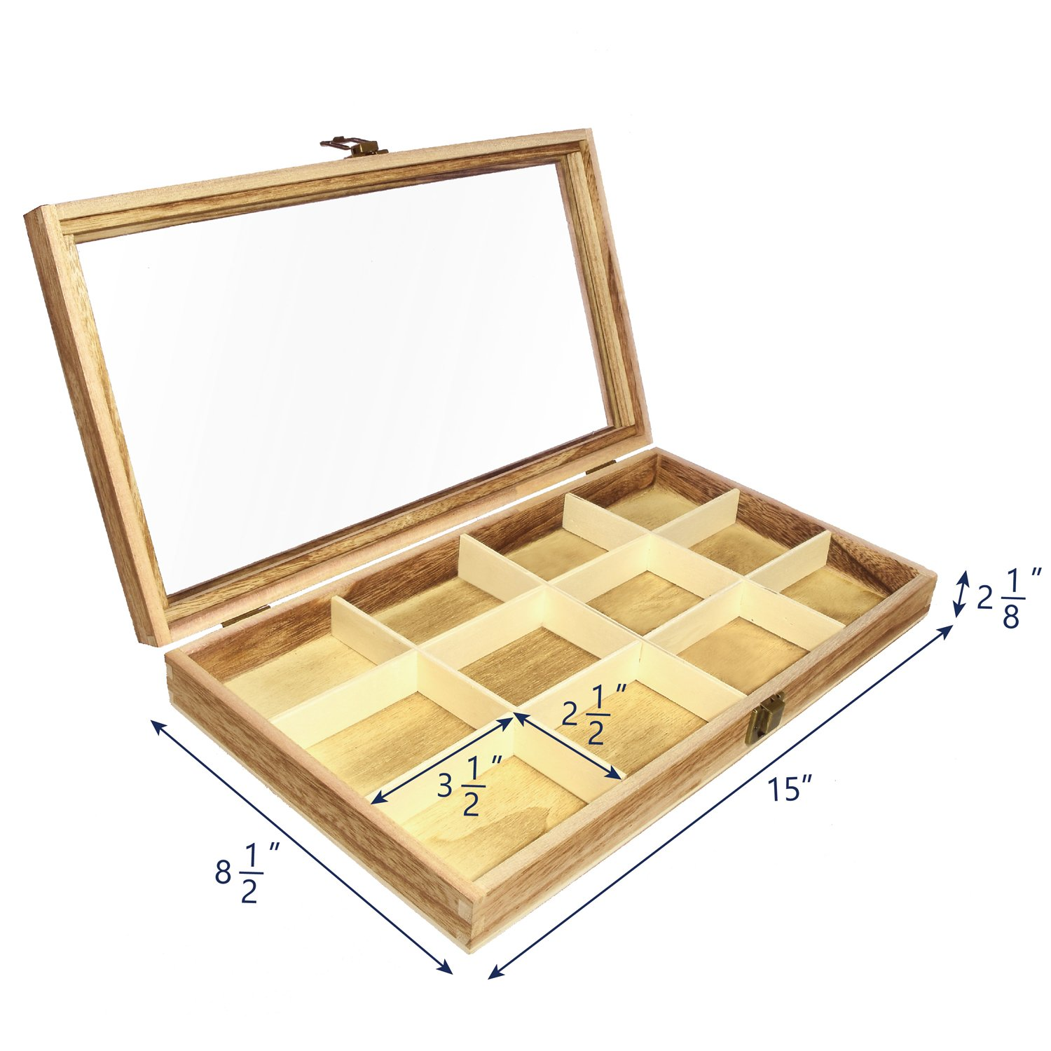 Ikee Design Wooden Jewelry Storage Tray Box with a Glass Lid 12 Compartments