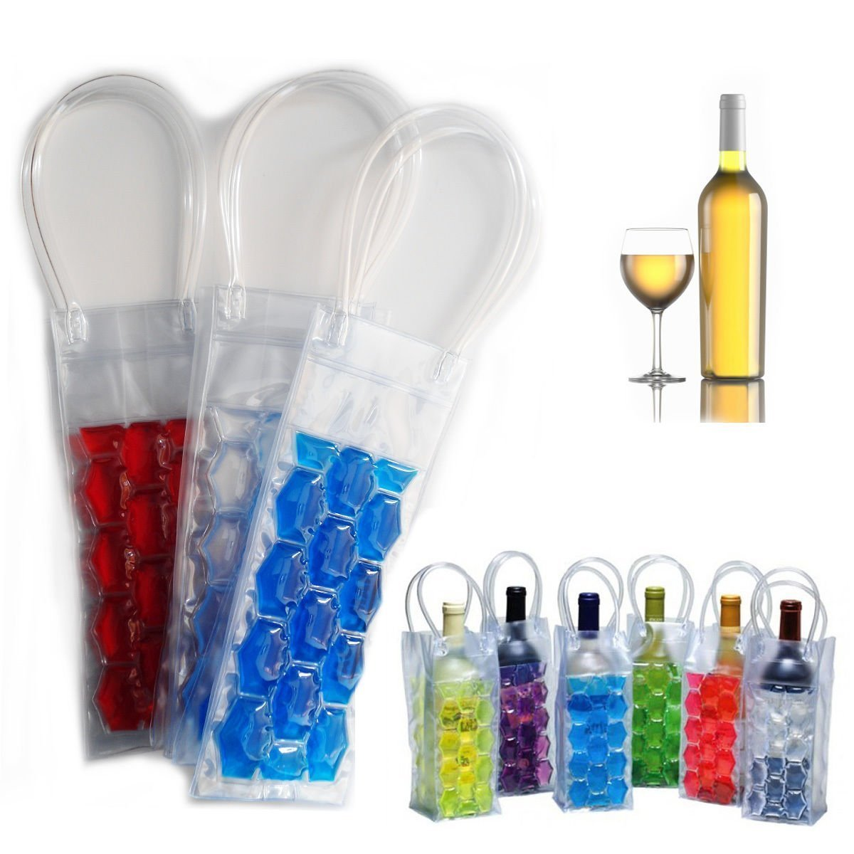 Gel Wine Bottle Chill Cooler Ice Bag - Freezer Bag- Vodka- Tequila Chiller- Cooler- Carrier