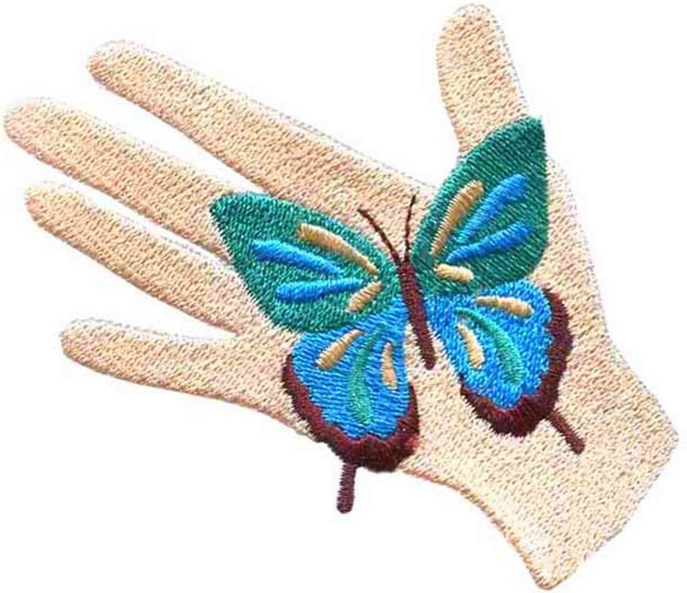 /à Coudre ou /à Repasser 8 cm x 6 cm /écusson enti/èrement brod/é et thermocollant Lilie Crea Patch Main avec Un Papillon