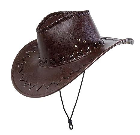 acquista originale Guantity limitata vendite speciali WIDMANN Cappello Cowboy Marrone Con Cuciture Similpelle Cappello Party 237