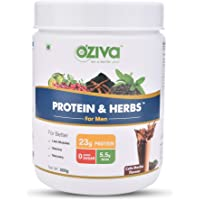 OZiva Protein & Herbs for Men, Cafe Mocha, 16 Servings, 0g added Sugar
