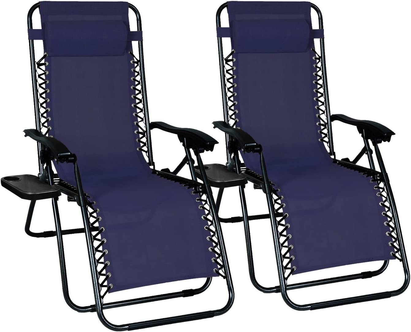 Odaof Zero Gravity Chair Recliner Outdoor Patio Lounge Chair W Cup Holder, 2 Pack, Blue