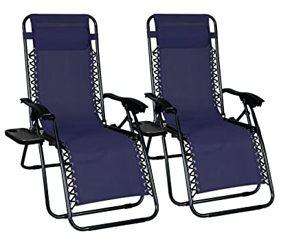 Brilliant Odaof Zero Gravity Chair Recliner Outdoor Patio Lounge Chair W Cup Holder 2 Pack Blue Dailytribune Chair Design For Home Dailytribuneorg