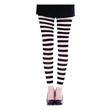 bf8ef386e4abc Pamela Mann Neon Twickers Striped Footless Tights - White: Amazon.co.uk:  Clothing