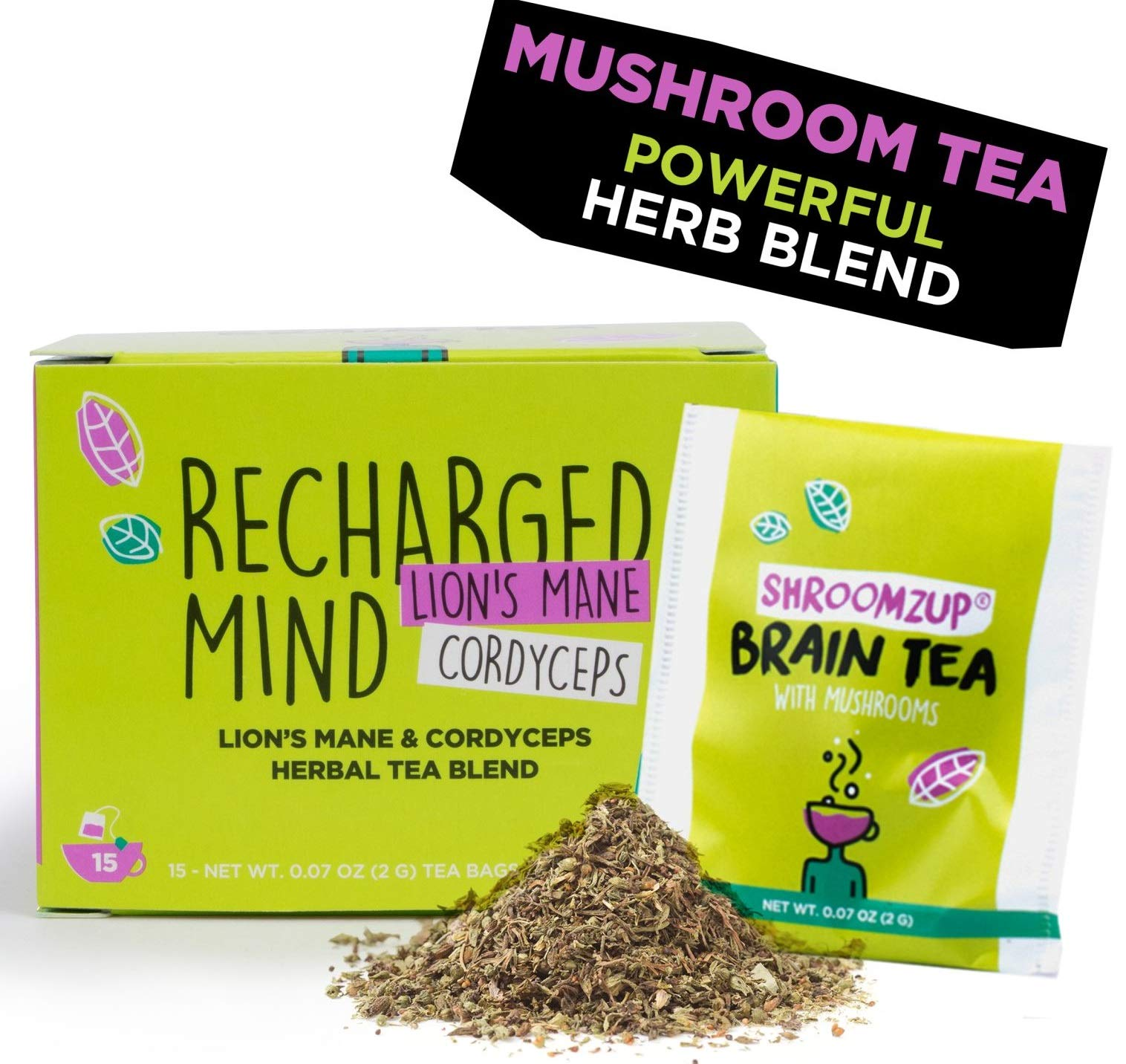 Mushroom Brain Tea with Lions Mane and Cordyceps Mix for Weight Loss Brain Memory 15 Bags Mental Focus Energy Booster Shroomzup Herbal Green Tea Vegan Gluten Free Organic Natural Ginkgo Biloba Ginseng