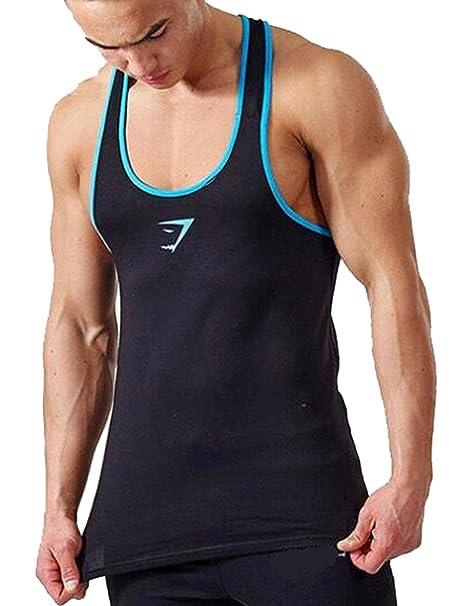 A. M. Sport Camisa Fitness de Tirantes para Hombre para Entrenar en el Gimnasio y Gym. T-Shirt Bodybuilding Transpirables. (Shark Ribete Azul Cielo): ...
