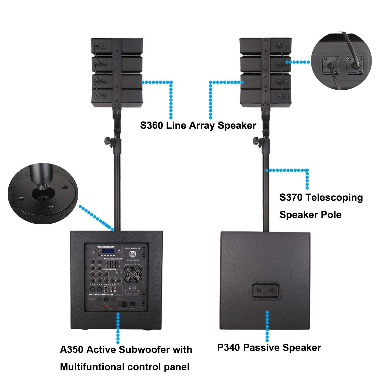 PRORECK Club 3000 12-Inch 3000 Watt DJ/Powered PA Speaker System Combo Set with Bluetooth/USB/SD Card/Remote Control (Two Subwoofers and 8X Array Speakers Set) (Club 3000) by PRORECK (Image #2)