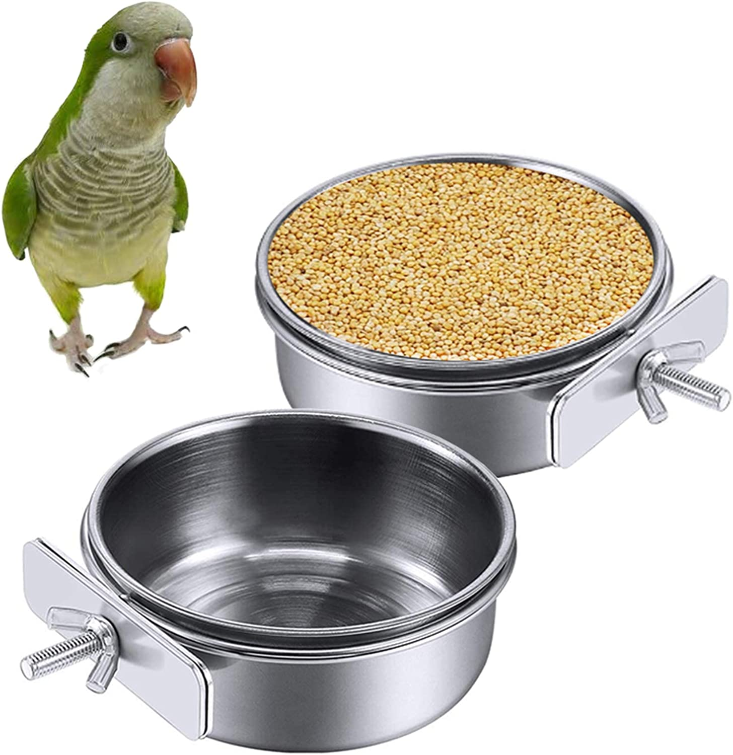 kathson 2 Pack Bird Feeding Cups with Clamp Holder, Parrot Food & Water Cage Hanging Bowl Stainless Steel Coop Cup Dish Feeder for Parakeet Cockatiels Conure Budgies Lovebird Finch