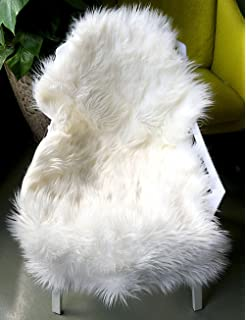 Ojia Deluxe Soft Faux Sheepskin Chair Cover Seat Pad Plain Shaggy Area Rugs  Bedroom Sofa Floor
