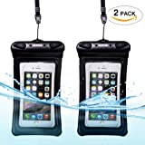 Universal Waterproof Phone Case of 2 Pack Set,Floating Pouch Night-Visible Smartphone Dry Bag for iPhone 8/8 Plus/X/7/7 Plus/6S/6/6S Plus/SE/5S/5,Galaxy S8/S8 Plus/Note 8 6 5, Pixel 2 up to 6.0""