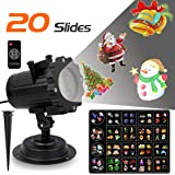 Christmas Led Projector Lights with 20 Slides Pattern Dynamic Lighting Landscape Led Projector Light Show for Halloween, Party, Birthday, Valentine's Day, Holiday Decoration, Waterproof LED Spotlight