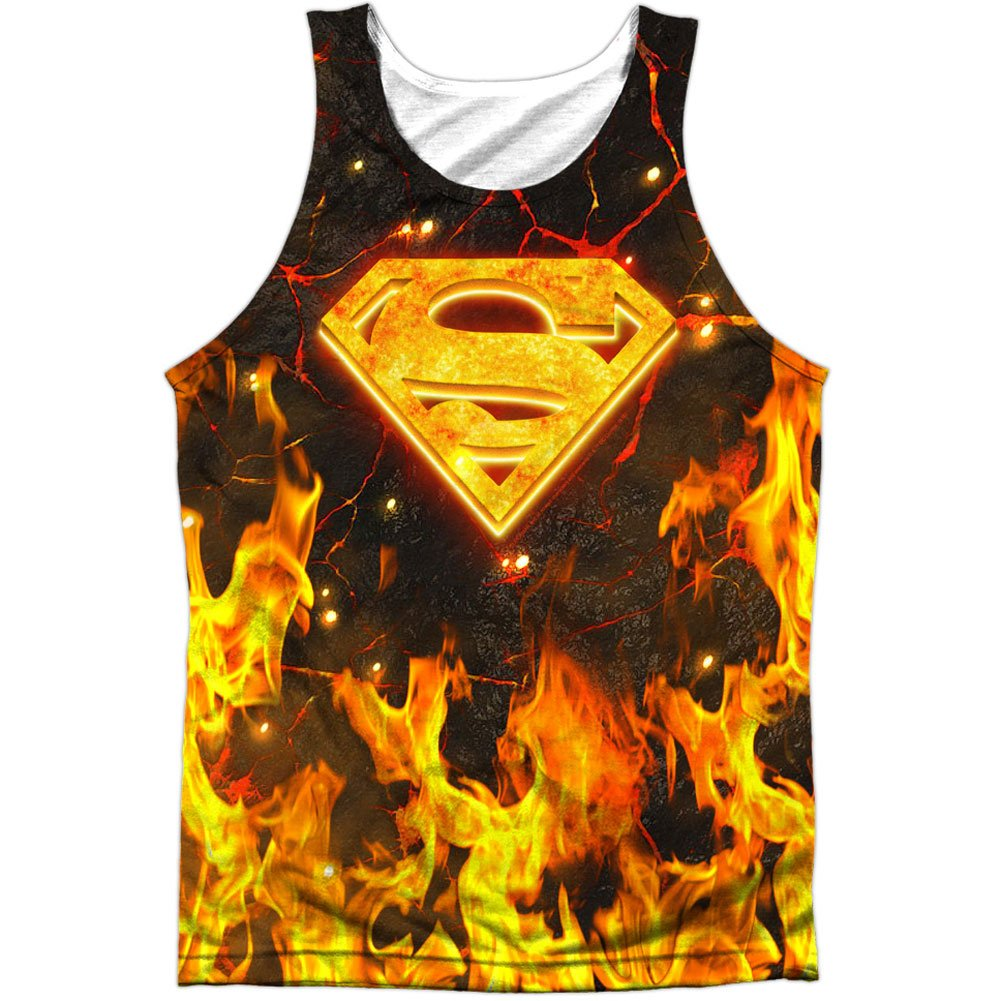Superman DC Superhero Fire & Magma S Shield Logo Front Print Tank Top Shirt Trevco
