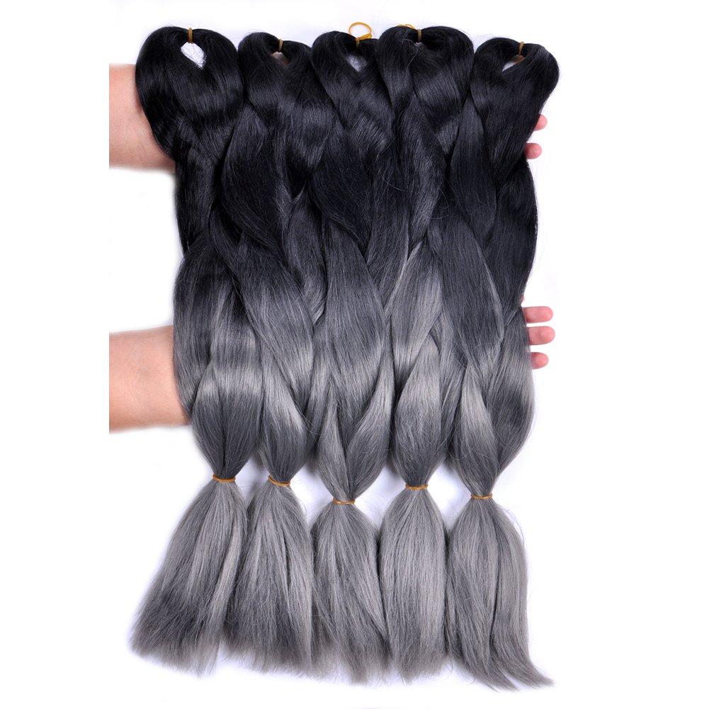 Amazon Jumbo Braiding Hair 3pcs Blackdark Grey Ombre