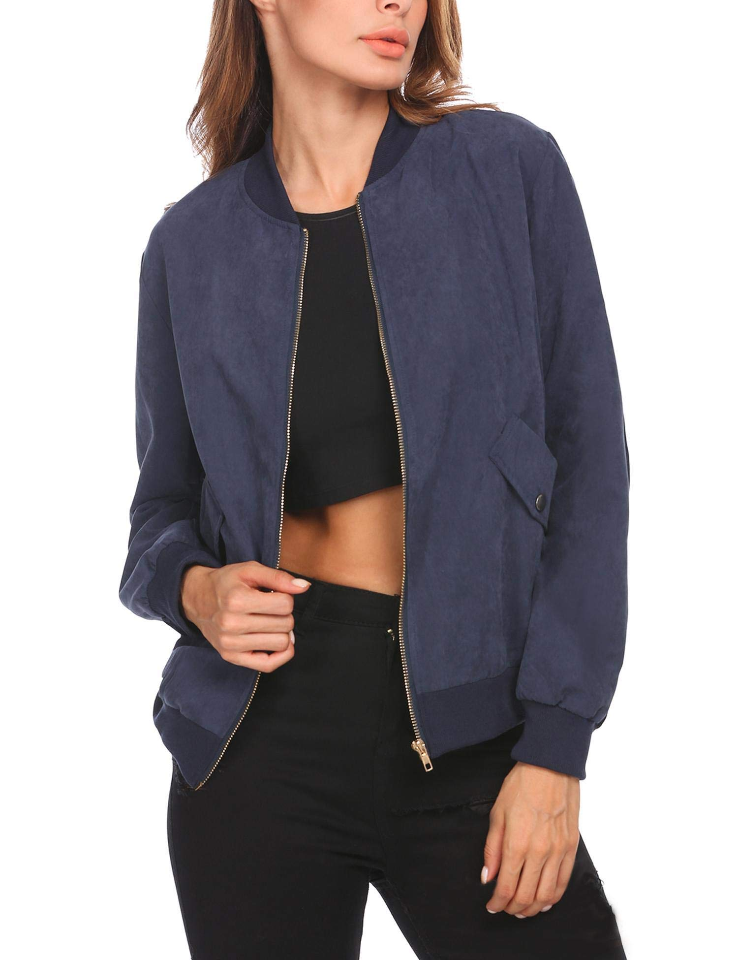 ELESOL Women's Zip Up Bomber Jacket Classic Lightweight Short Jacket with Pockets Navy Blue M