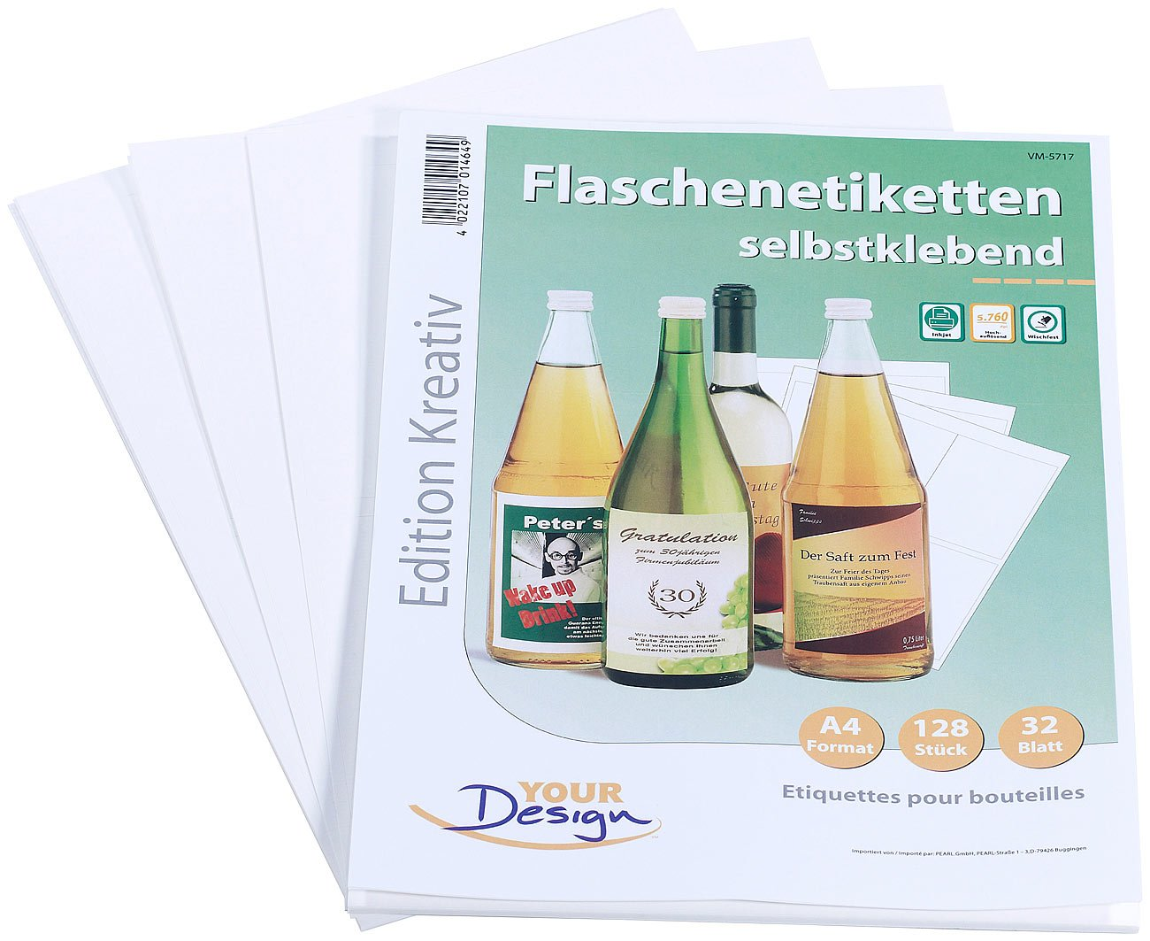 Your Design Etiketten: 128 Inkjet-Flaschenetiketten 10x13 cm ...