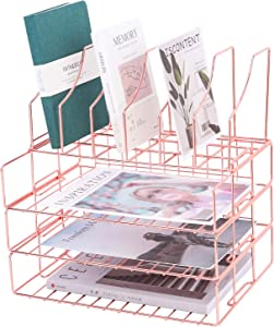 Z PLINRISE Stackable Letter Tray, 3 File Trays Plus Magazine Holder Rack, Office Desktop Paper Organizer Tray for Mails, Documents, Folders, Books and More, Rose Gold