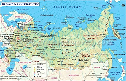 Maps Of India Russia Map - Vinyl: Amazon.in: Office Products