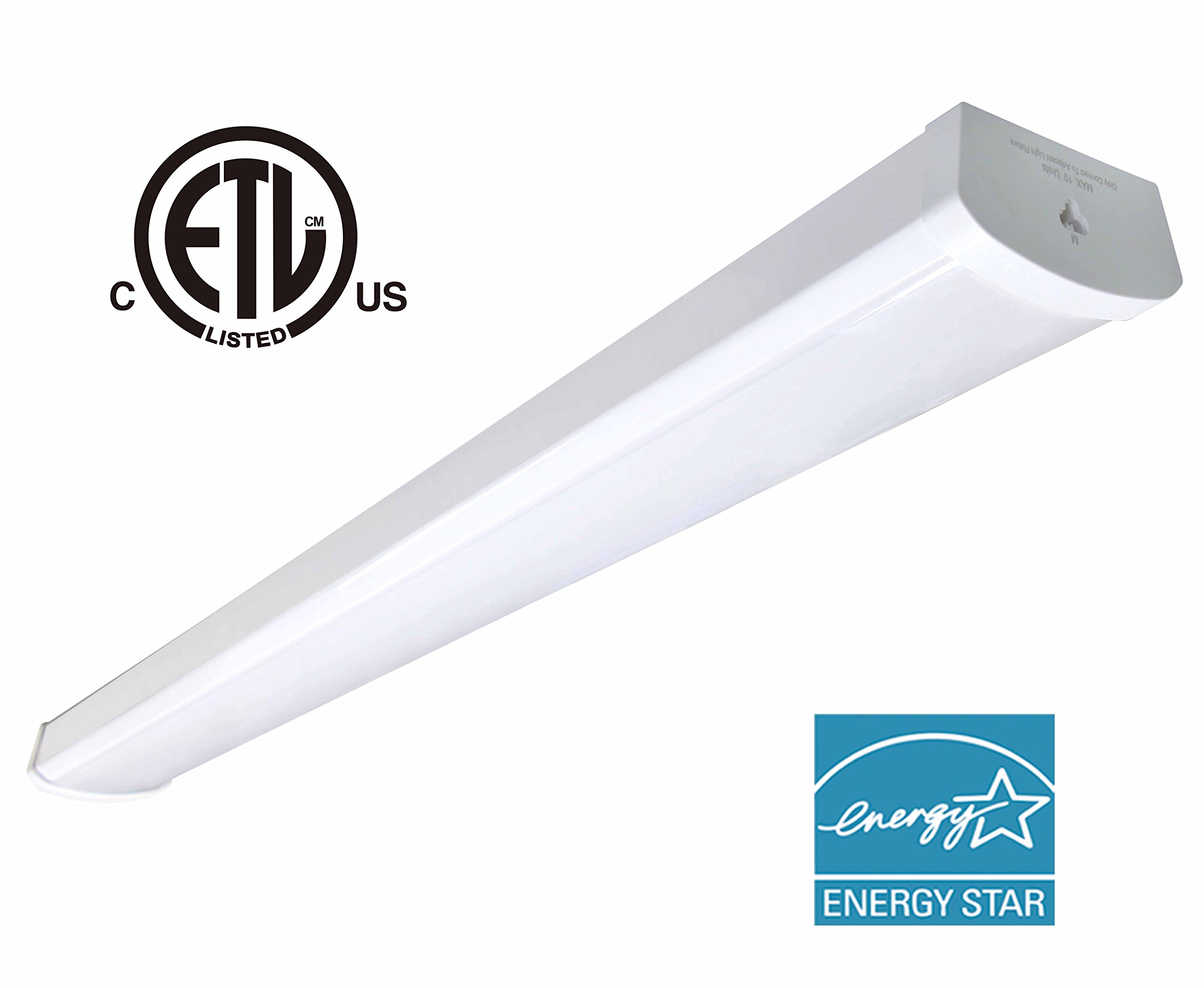 48W Linkable LED Wraparound Flushmount Light 4ft,led Shop Light,4000Lumens 5000K, ETL and Energy Star Certified,LED Wrap Light,LED Linear Indoor Lights,LED Puff Light,LED Ceiling Light,50K1pk by OOOLED (Image #1)