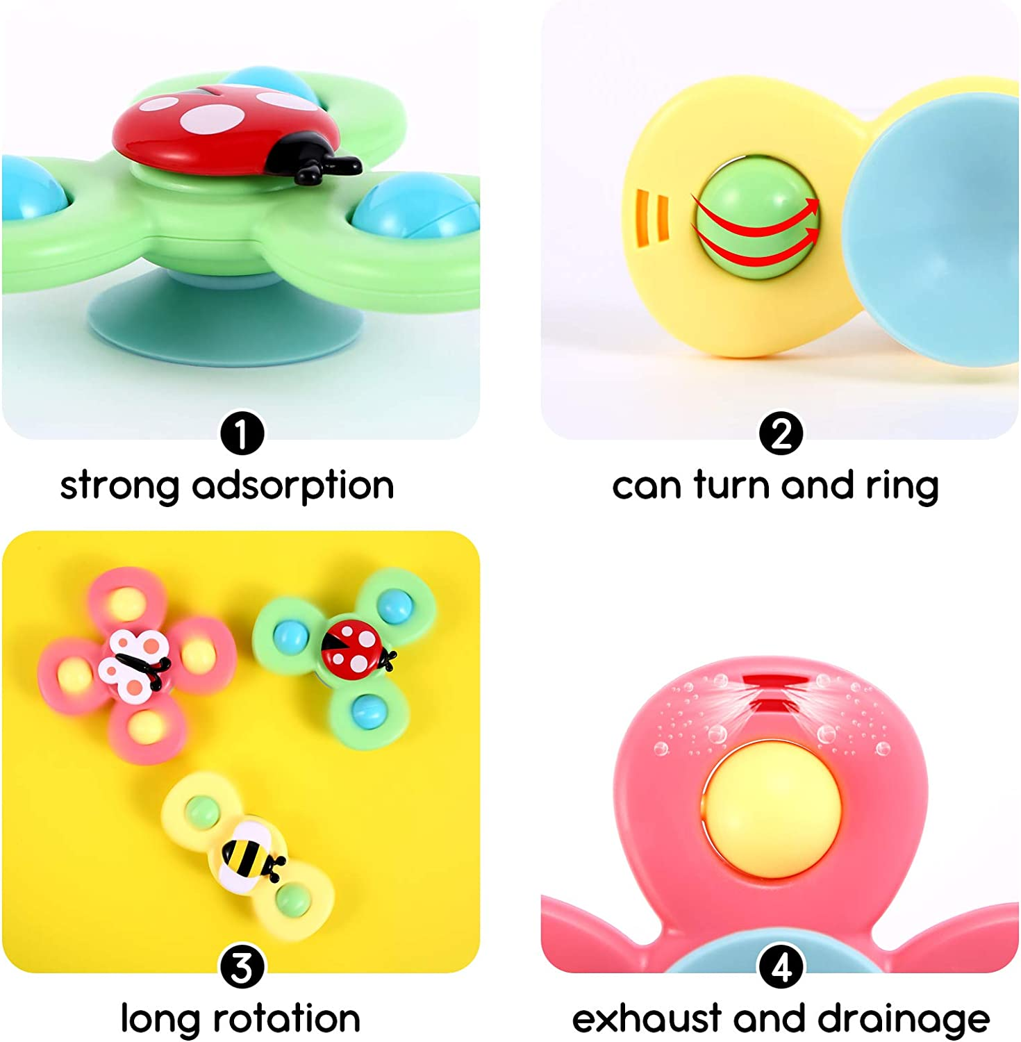 GOHEYI Suction Cup Spinning Top Toy Baby Bath Toys,Safe Interesting Animal Gameplay Early Learner Creative Toys for Children Kids Baby Girls Boys