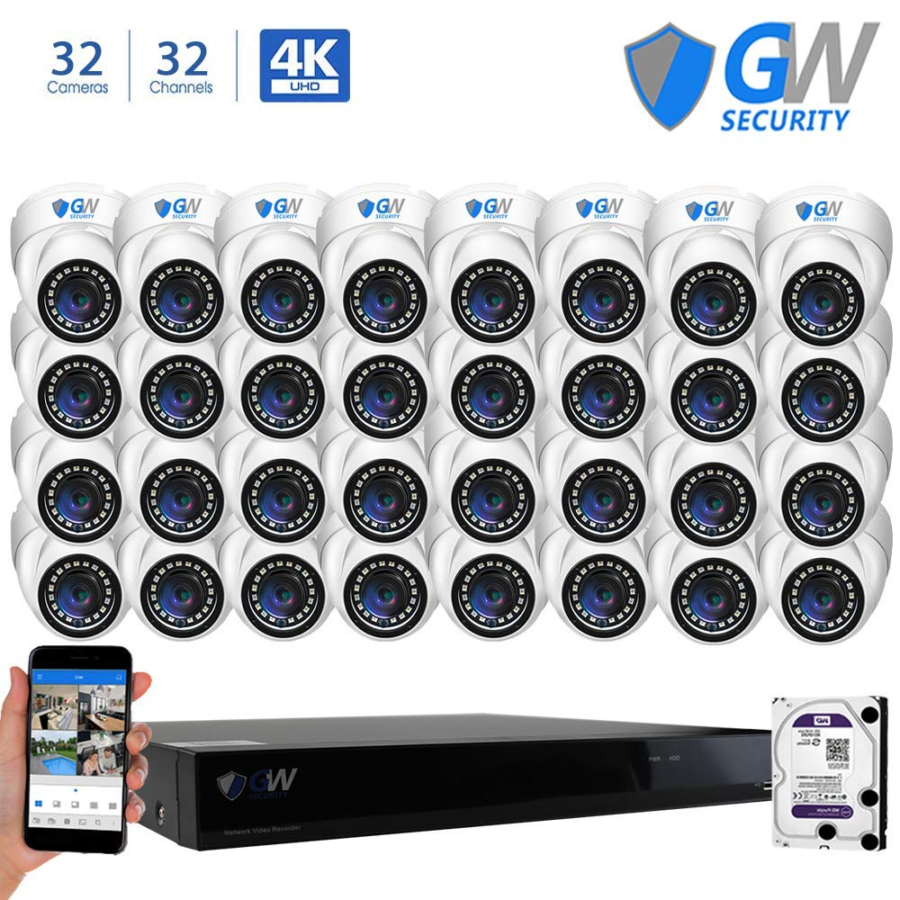 GW Security 32 Channel NVR 5 Megapixel H.265 Security Camera System, 32 Built-in Microphone Audio Recording HD 1920P IP PoE Dome Cameras, QR-Code Connection