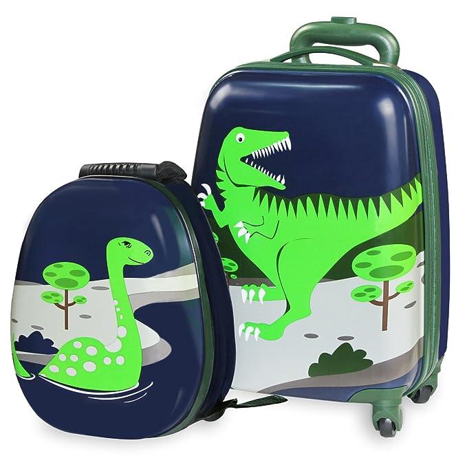iPlay iLearn Juego infantil de maletas rígidas, diseño de dinosaurio, duraderas y ligeras, incluyen asa para ...