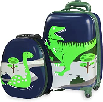 Durable Luggage Set,Lightweight Suitcase Backpack(Dinosaur)