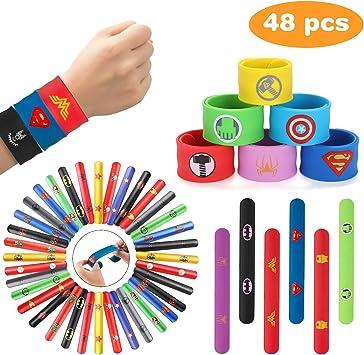 Ucradle Pulsera Bofetada, 48 Piezas Superhéroe Slap Pulsera, Slap Bracelets, Banda de Pulsera, Fiesta Juguetes de Infantil Rellenos de Bolsa de Fiesta para niños niñas (12 Silicona + 36 PVC): Amazon.es: Juguetes y juegos