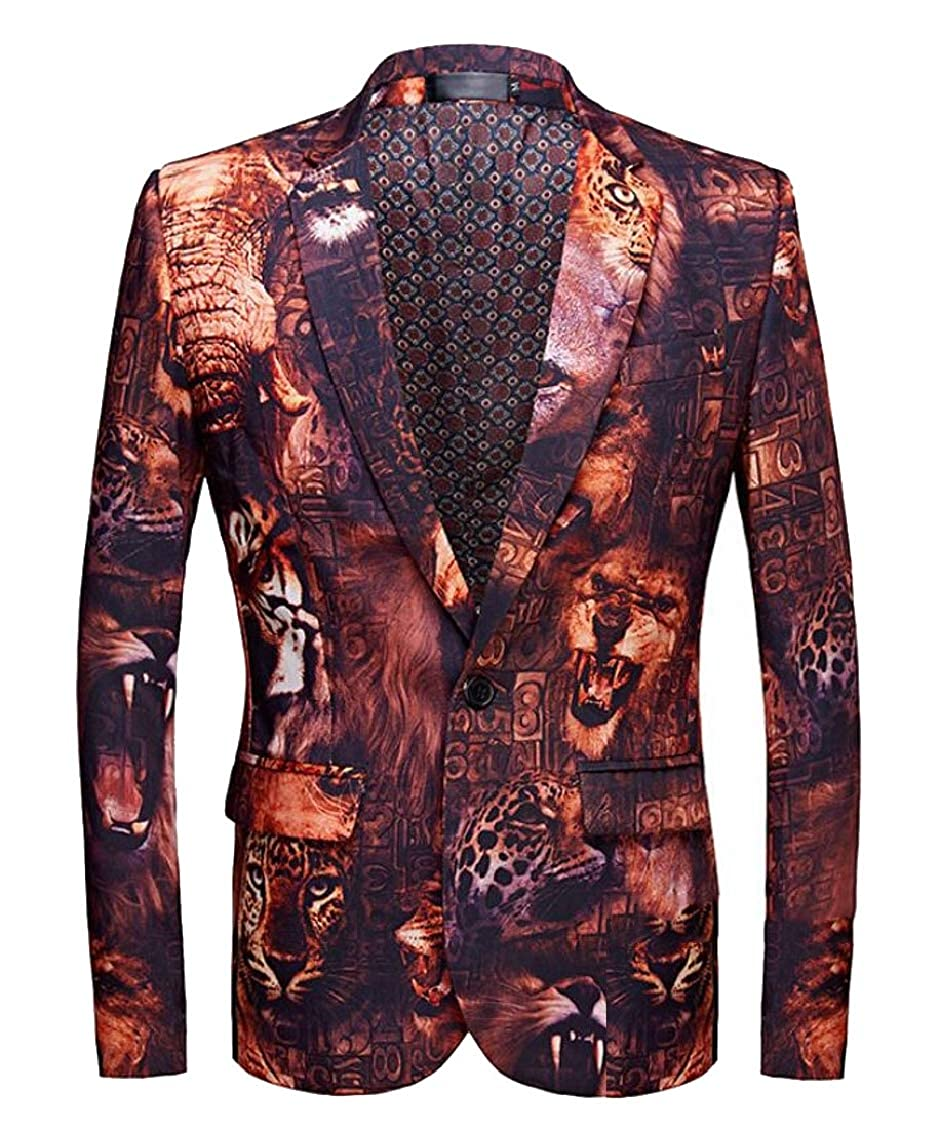 Mens Print Long Sleeve Slim 1 Button Lapel Collar Blazer Jacket