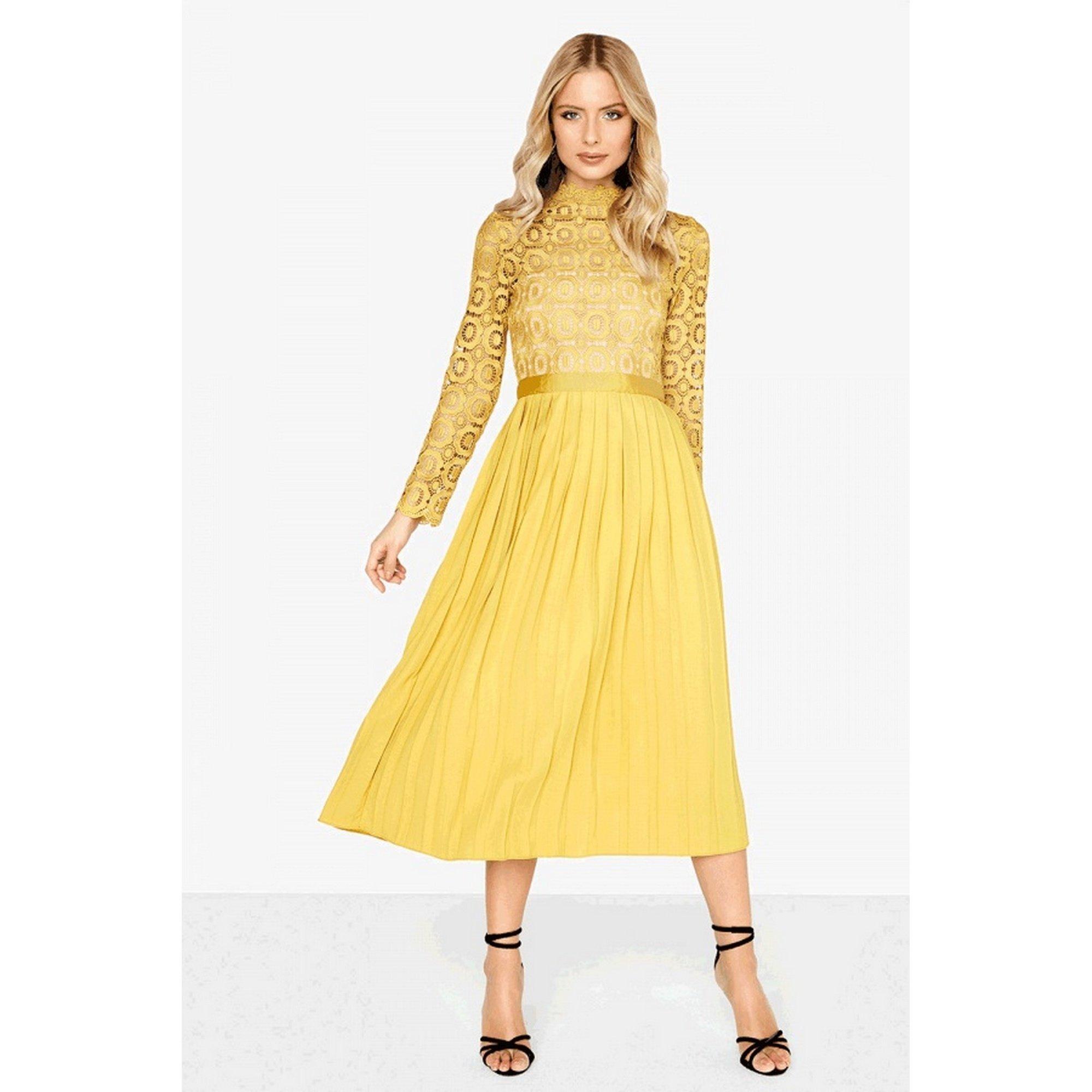 Little Mistress Petite Womens/Ladies Alice Pleated Crochet Top Dress (8 US) (Mustard Yellow)