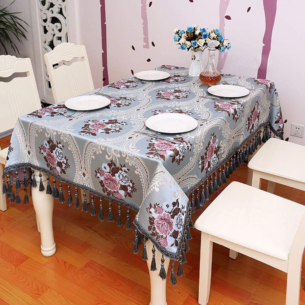 HFY テーブルクロス、ハイエンドの高級長方形コットンリネンテーブルクロス、青 (色 : 青, サイズ さいず : 140*180cm) 140*180cm 青 B07S99Z9GY