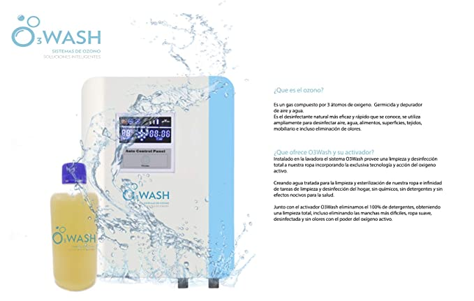 O3Wash Generador de Ozono Doméstico para Lavadora, Limpieza Ropa y ...