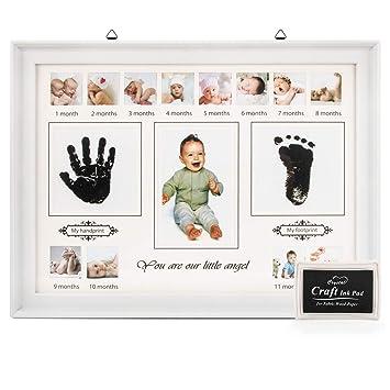 Rizon Baby Handabdruck Und Fussabdruck Set Fotoalbum Baby Bilderrahmen Andenken Box Für Neugeborene Babyparty Geschenk Mutter Geschenke 12