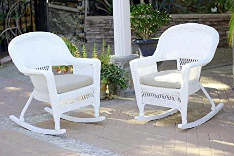 Gentil 2 Piece Ariel White Resin Wicker Patio Rocker Chairs Furniture Set   Tan  Cushions
