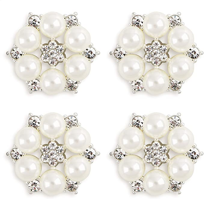 100x Wholesale Diamante Pearl Flatback Embellishment Craft Wedding Decor