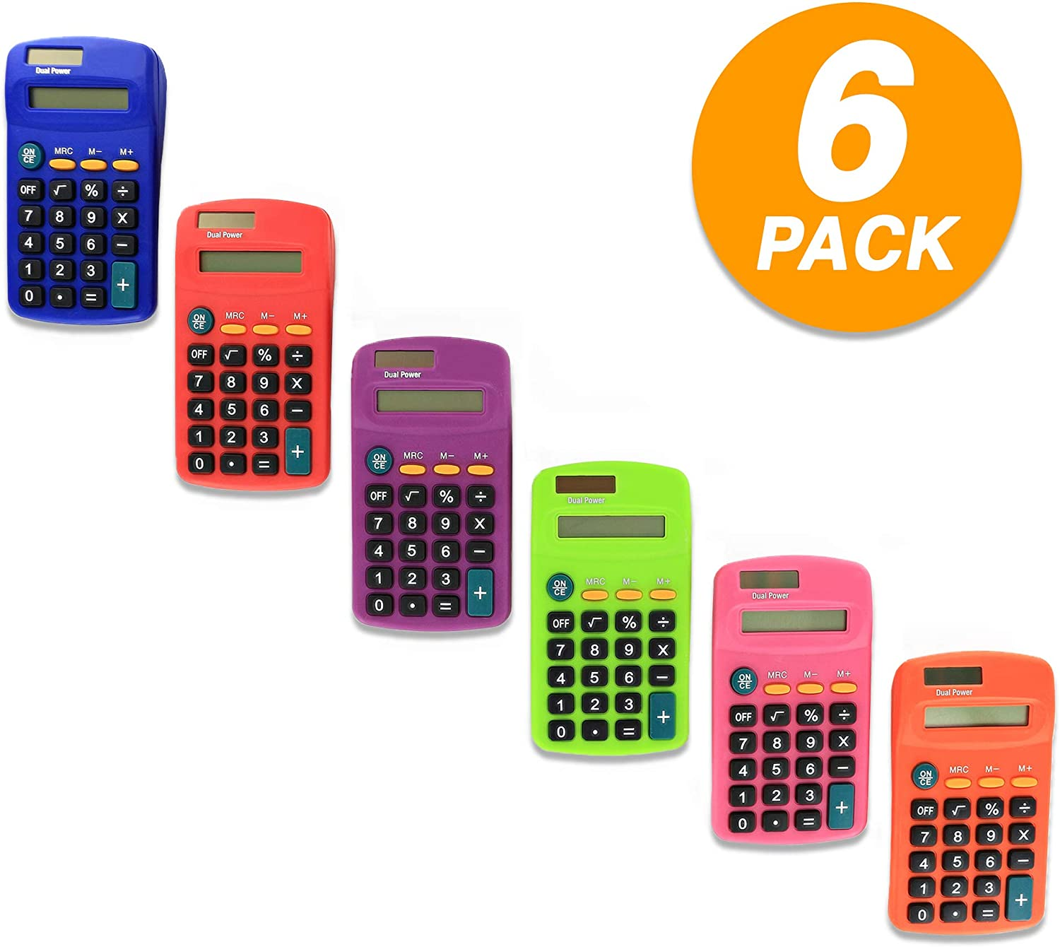 Pocket Size Calculator 8 Digit, Dual Power, Large LCD Display, School Student Desktop Accounting Office Calculators (Pack of 6) - by Emraw