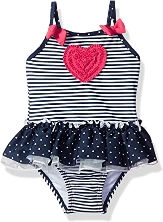 Red White Stripes Baby Girl Swimsuit Swimwear Beach Wear Toddler One Pieces Bathing Suit Swimming Clothes+Sun Hat