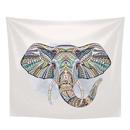 Elefantes Art Paño Imprimir Deco Tapiz, India Mandala Hippie Gypsy Bohemia Diseño Psicodélico, Decoración