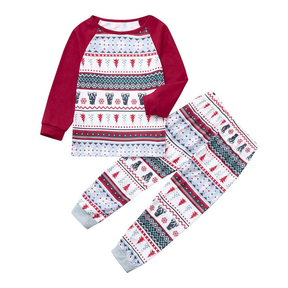 Franterd クリスマスファミリーマッチングパジャマセット クリスマス 雪だるまトップス+ストリップツリーパンツ ホームウォーム寝間着 メリークリスマス 3T Kids B07K8DJLT4
