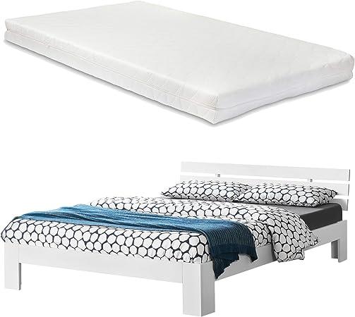 [en.casa] Cama de Pino con colchón Cama Doble Cama Matrimonio 140x200 cm con Listones Somier Blanco