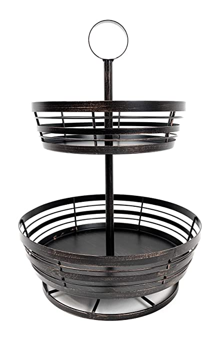 2-Tier Fruit Basket With Lazy Susan Base