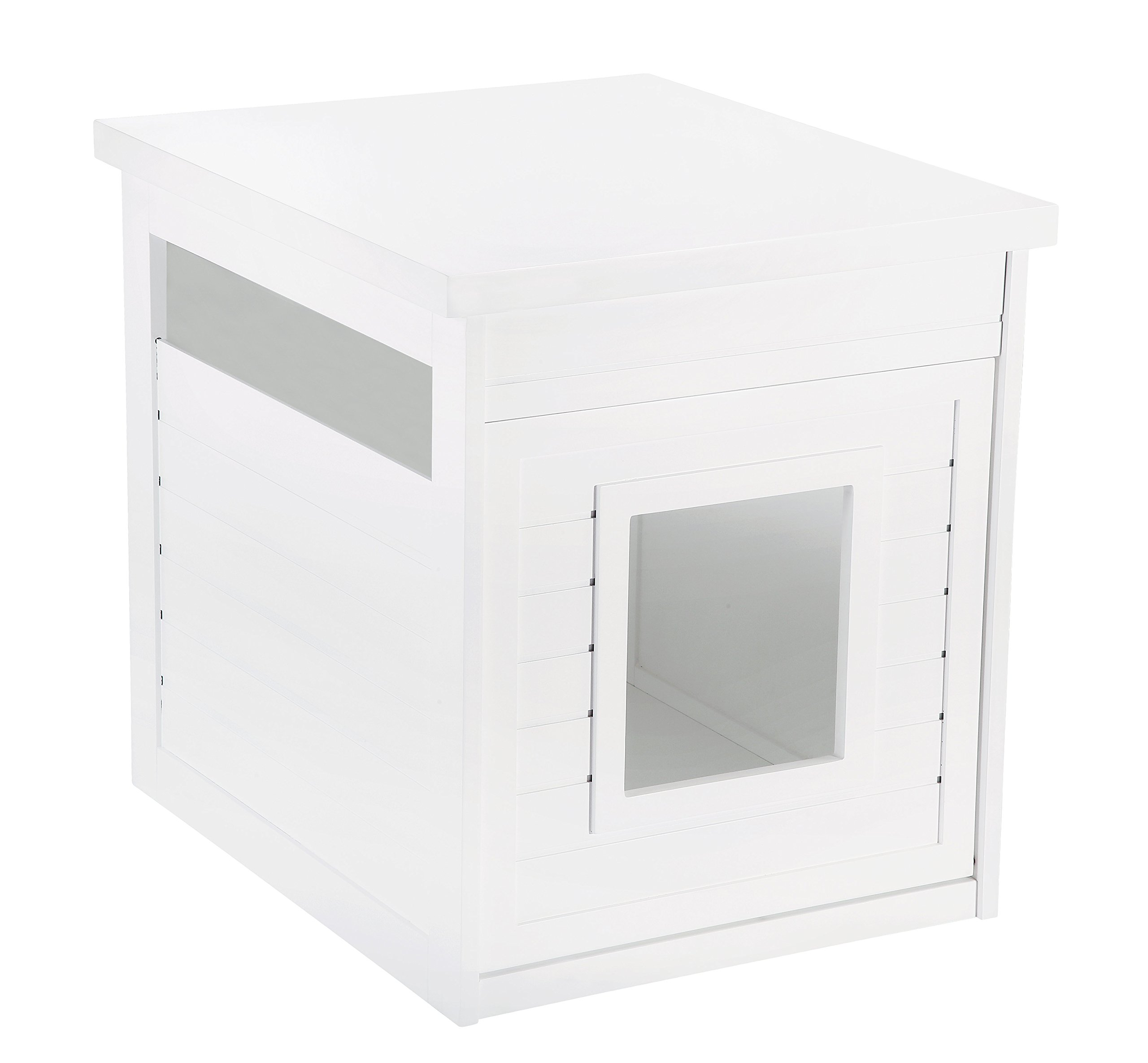 Pet Hup Hup Arena Kitty Litter Box and Accent Table Pet House and Litter Box Comfort Washroom with Night Stand, White