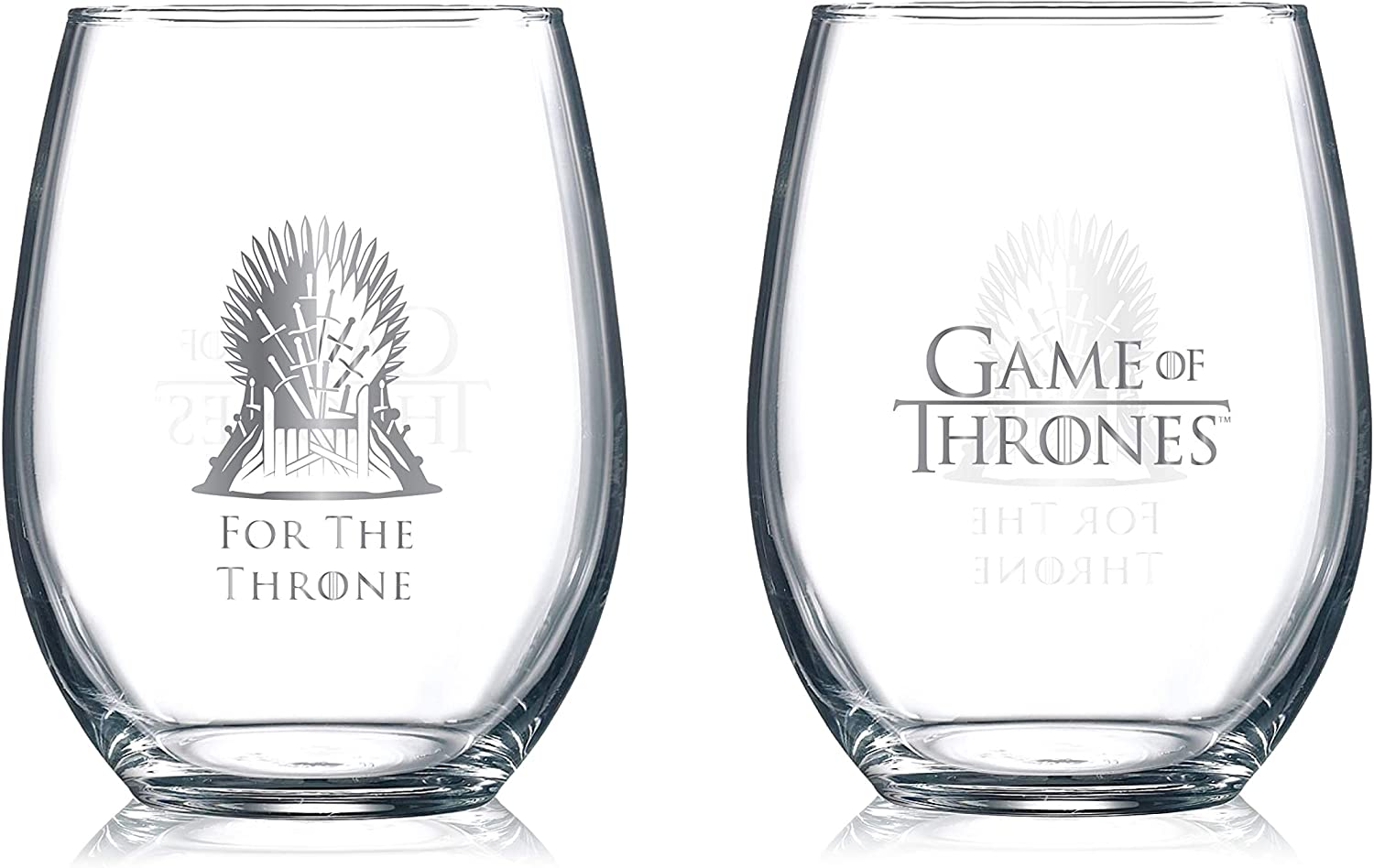 Amazon Com Game Of Thrones Collectible Wine Glasses For The Throne 2 Pack Wine Glasses