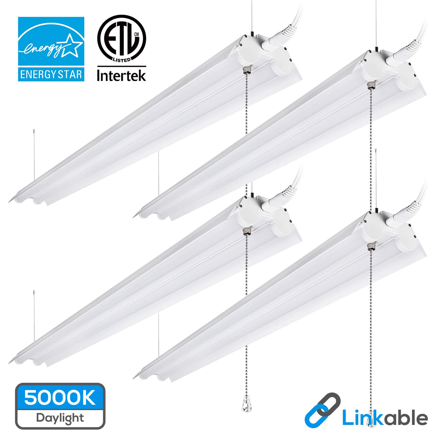 LeonLite 40W 4ft Linkable LED Utility Shop Light, Double-Tube T8 LED, 4000lm 120W Equivalent, ETL & Energy Star Certified Suit for Garage, Workbench, Basement, Warehouse, 5000K Daylight, 4 Pack by LEONLITE (Image #1)