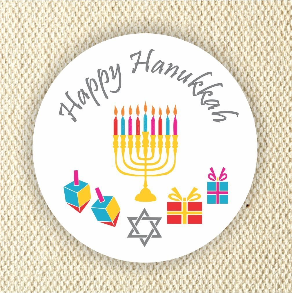 Hanukah Stickers Hanukkah Floral Gift Stickers Chanukkah Stickers Personalized Hanukkah Stickers