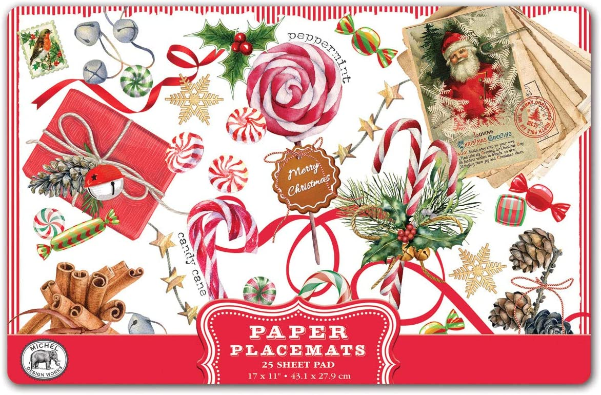 Christmas Candy Canes Peppermint Kitchen Towel by  Michel Design Works