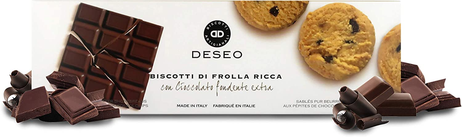 Deseo 11 Packs of Extra Dark Chocolate Chips Shortbread Biscuits, Italian Butter Cookies - 11 x 160g / 5.6oz