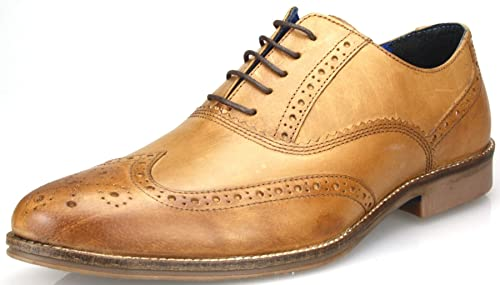 Mens Red Tape Lace Up Brogue Smart Casual Leather Shoes Tan Navy Brown Black Suede KV_9378